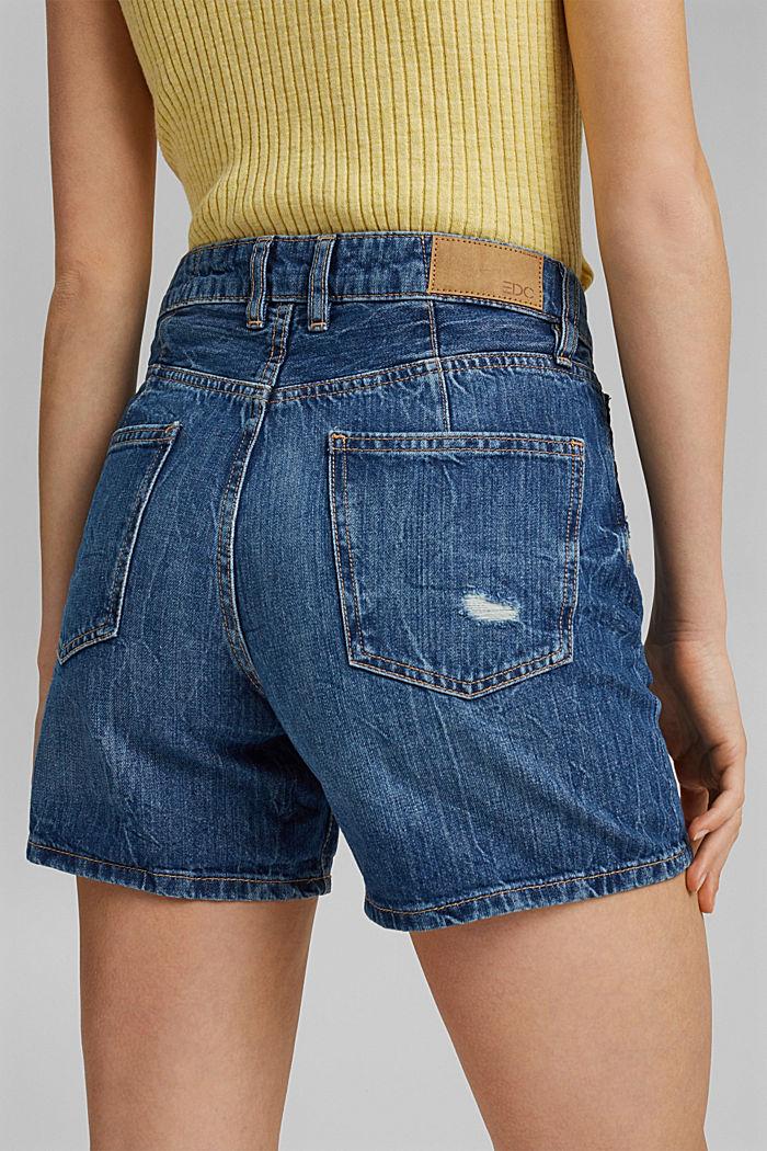 Shorts vaqueros con detalles desgastados, 100% algodón, BLUE MEDIUM WASHED, detail image number 2