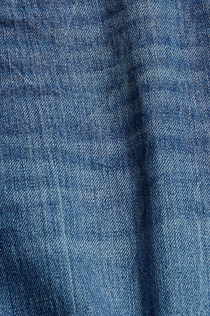 Shorts vaqueros con detalles desgastados, 100% algodón, BLUE MEDIUM WASHED, detail image number 4