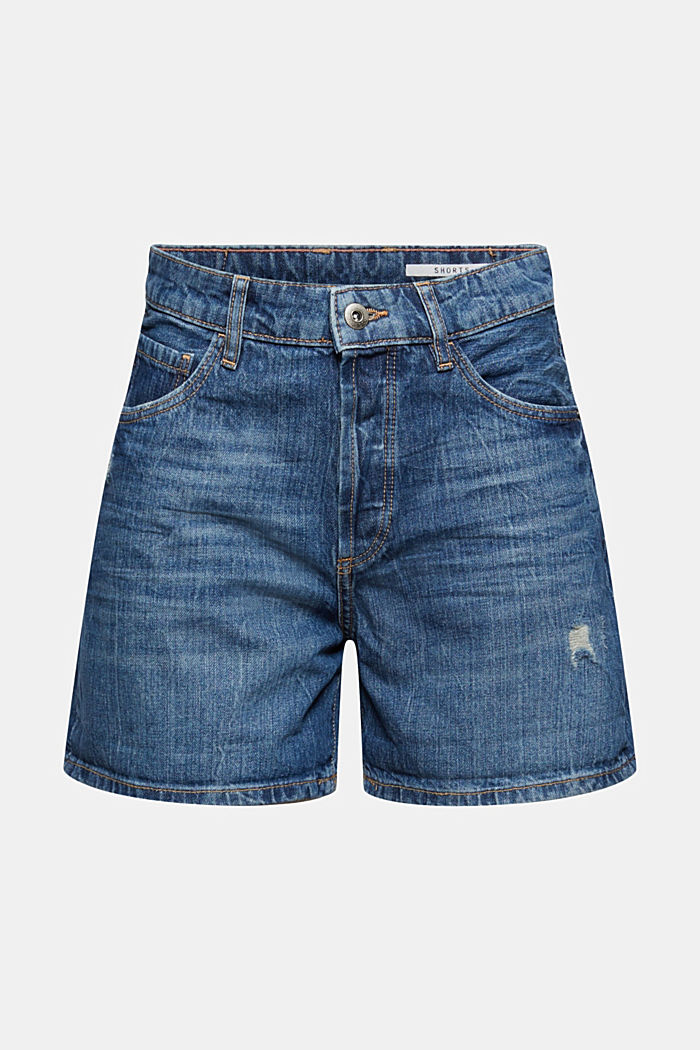 Jeans-Shorts mit Used-Details, 100% Baumwolle
