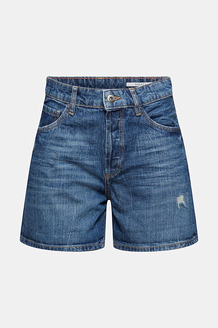 Džínové šortky s obnošenými detaily, 100% bavlna