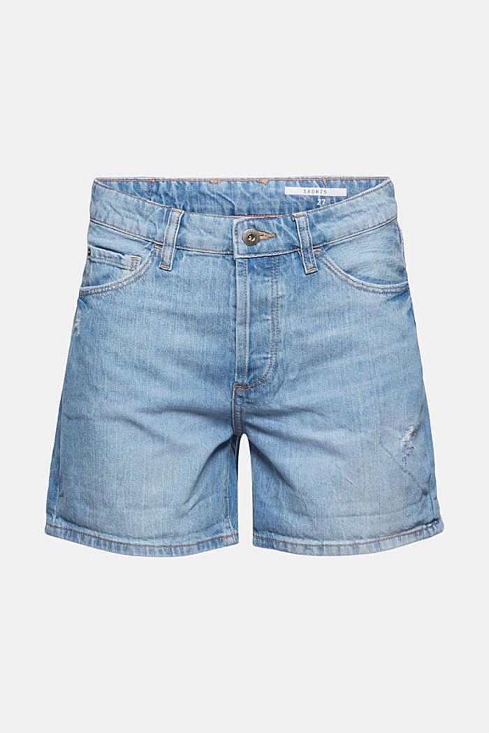 Shorts in denim con dettagli usati, 100% cotone