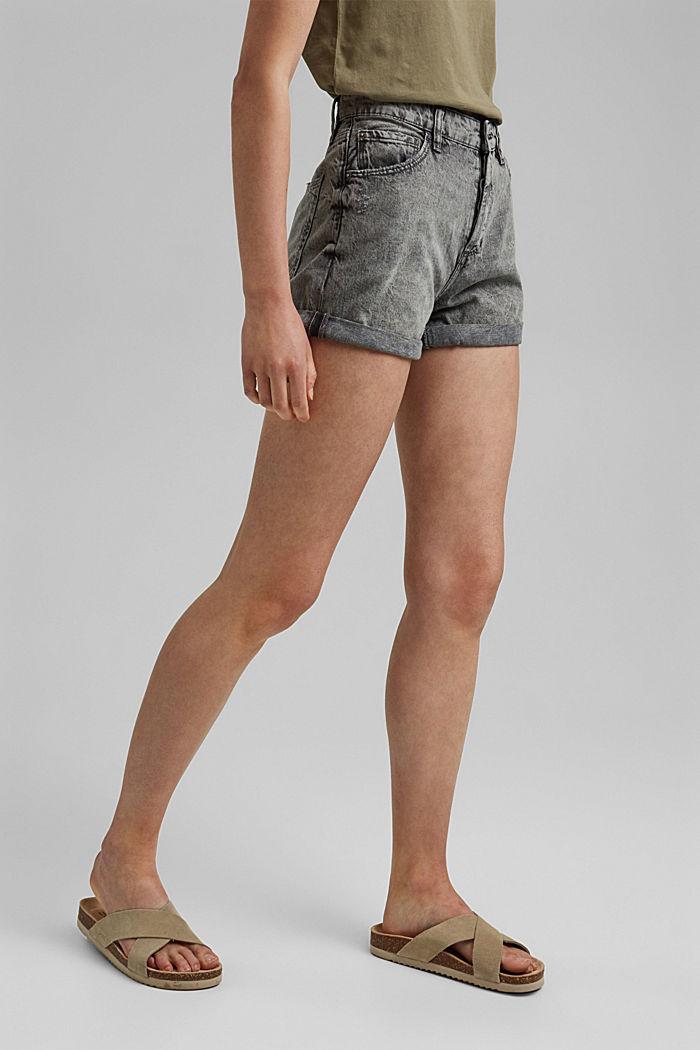 Jeans-Shorts mit Used-Details, 100%Baumwolle, BLACK MEDIUM WASHED, detail image number 0