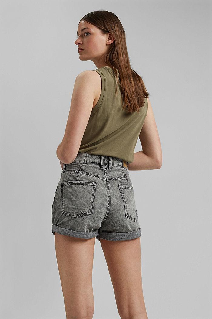 Jeans-Shorts mit Used-Details, 100%Baumwolle, BLACK MEDIUM WASHED, detail image number 3