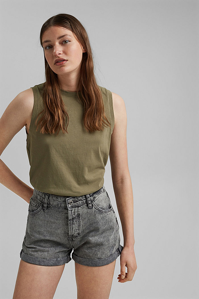 Jeans-Shorts mit Used-Details, 100%Baumwolle, BLACK MEDIUM WASHED, detail image number 5