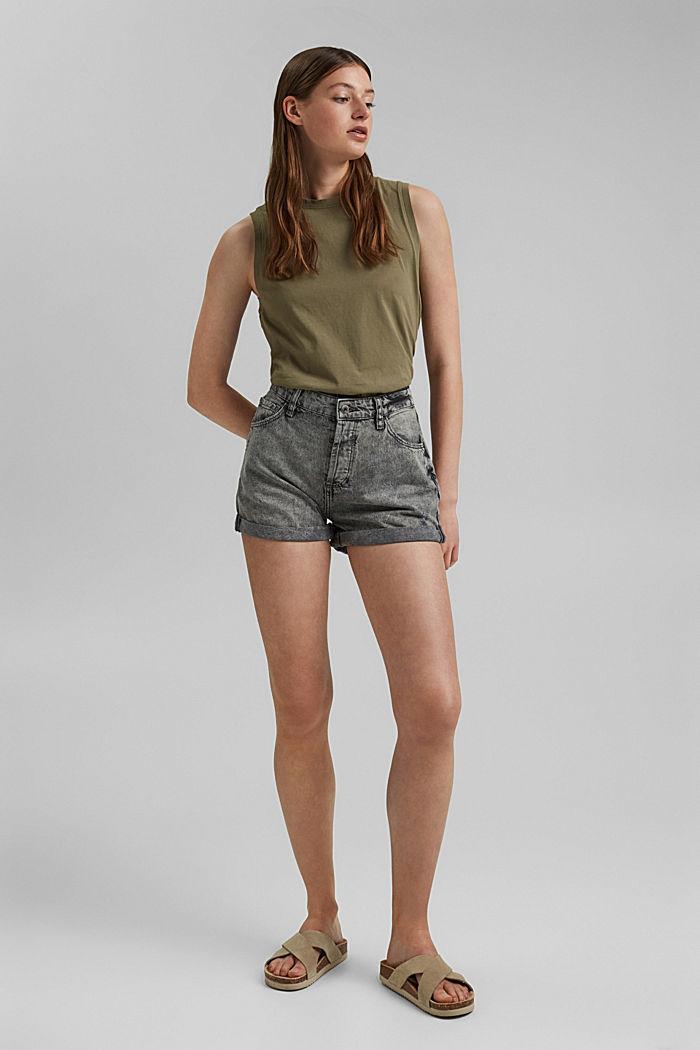 Jeans-Shorts mit Used-Details, 100%Baumwolle, BLACK MEDIUM WASHED, detail image number 1