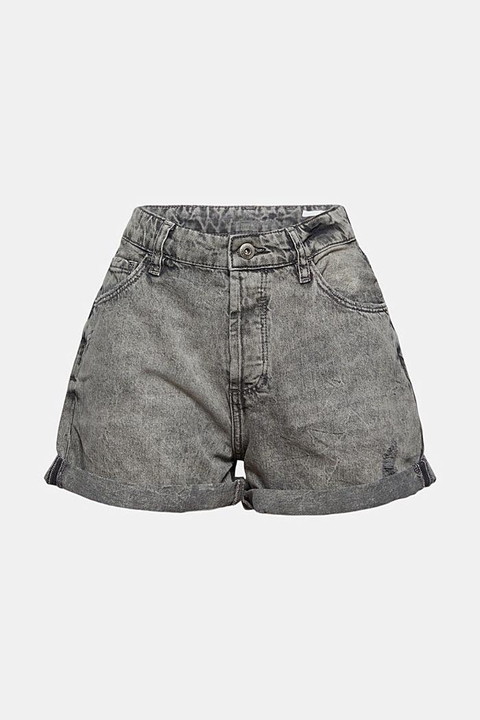 Jeans-Shorts mit Used-Details, 100%Baumwolle, BLACK MEDIUM WASHED, detail image number 6