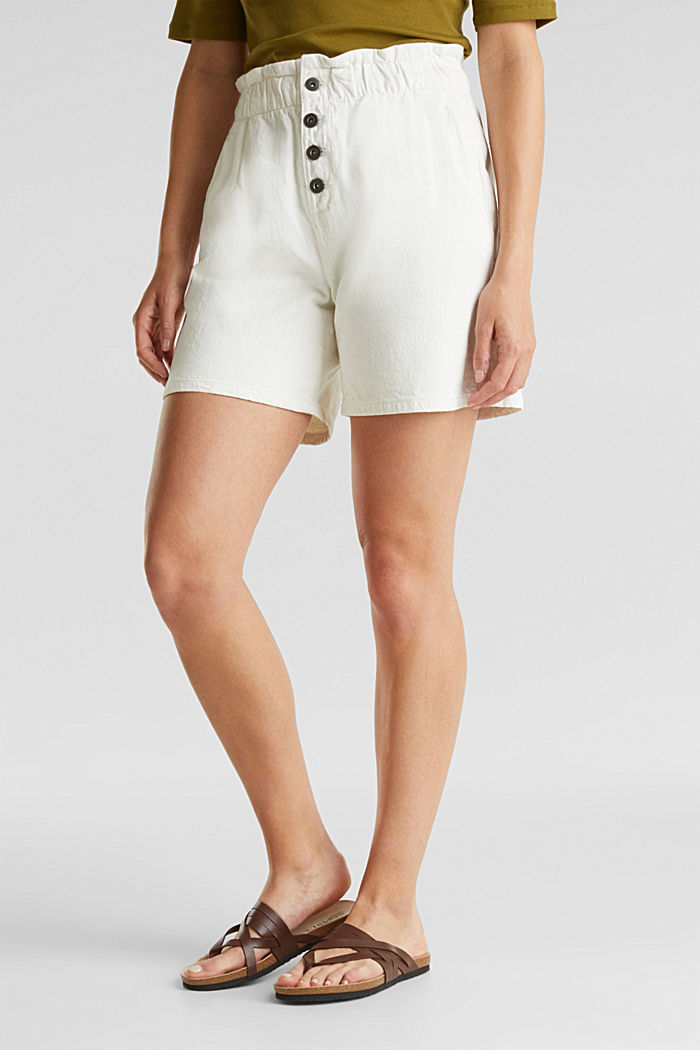 Woven shorts with linen and organic cotton, WHITE, detail image number 0
