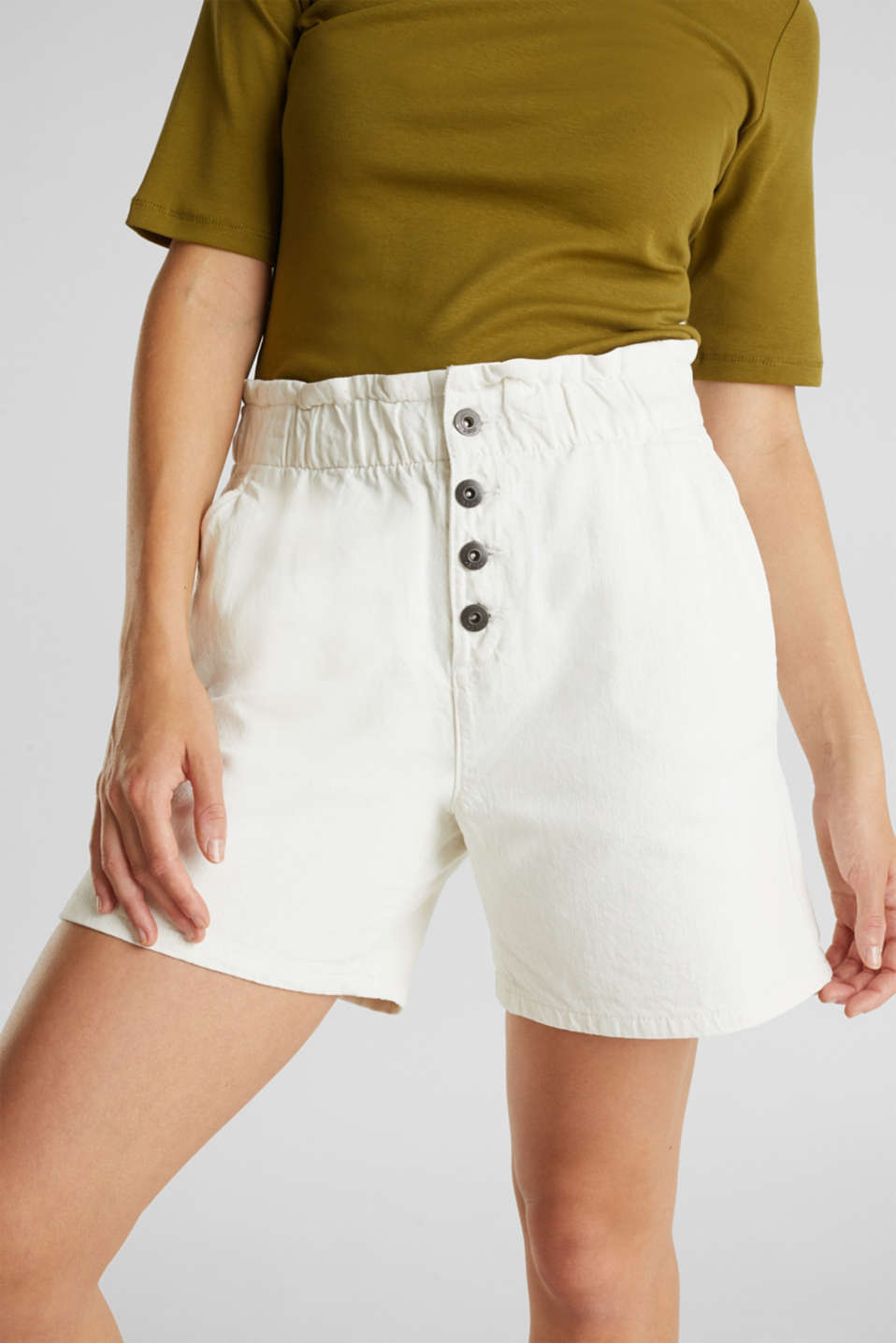 Woven shorts with linen and organic cotton, WHITE, detail image number 2
