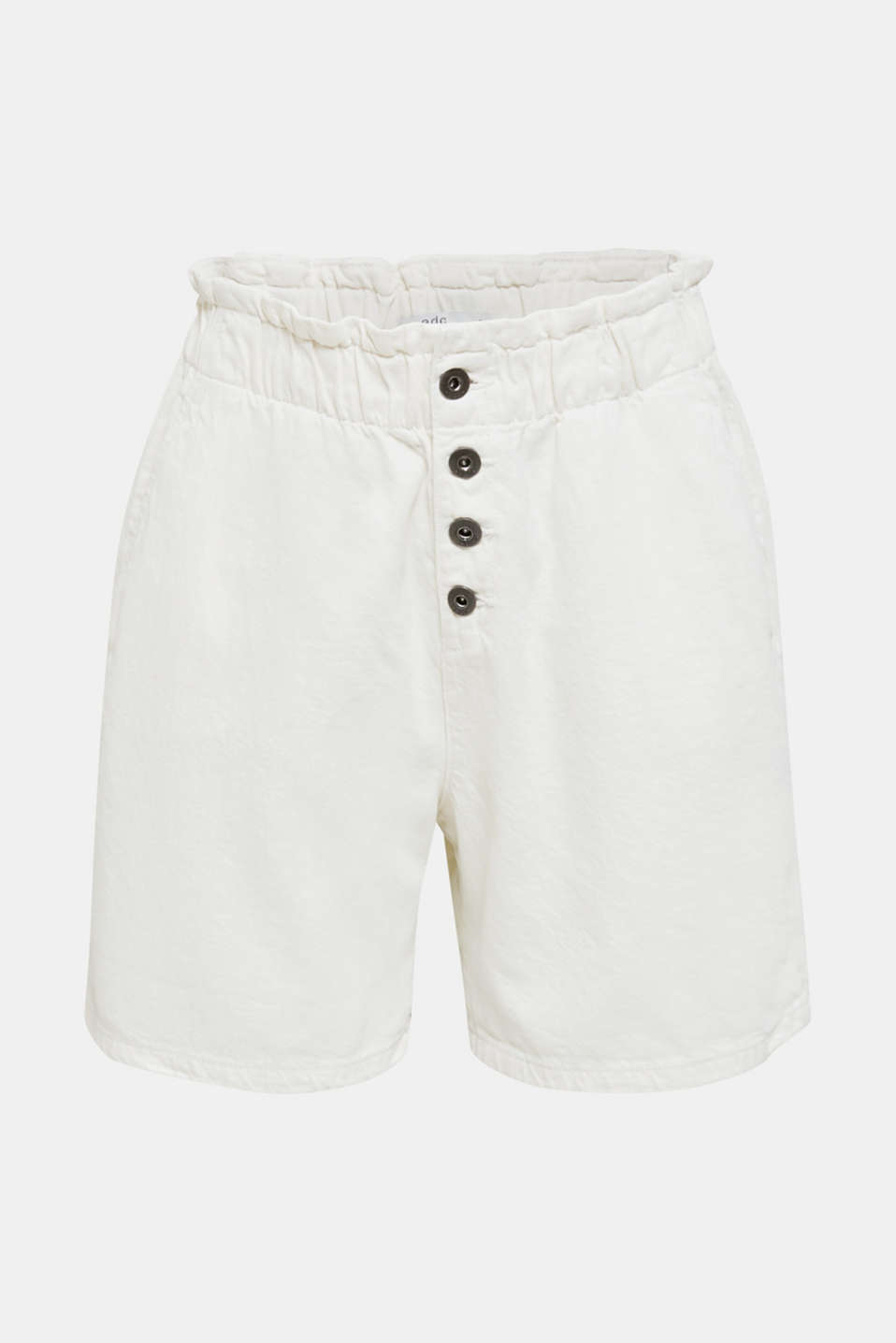 Woven shorts with linen and organic cotton, WHITE, detail image number 6