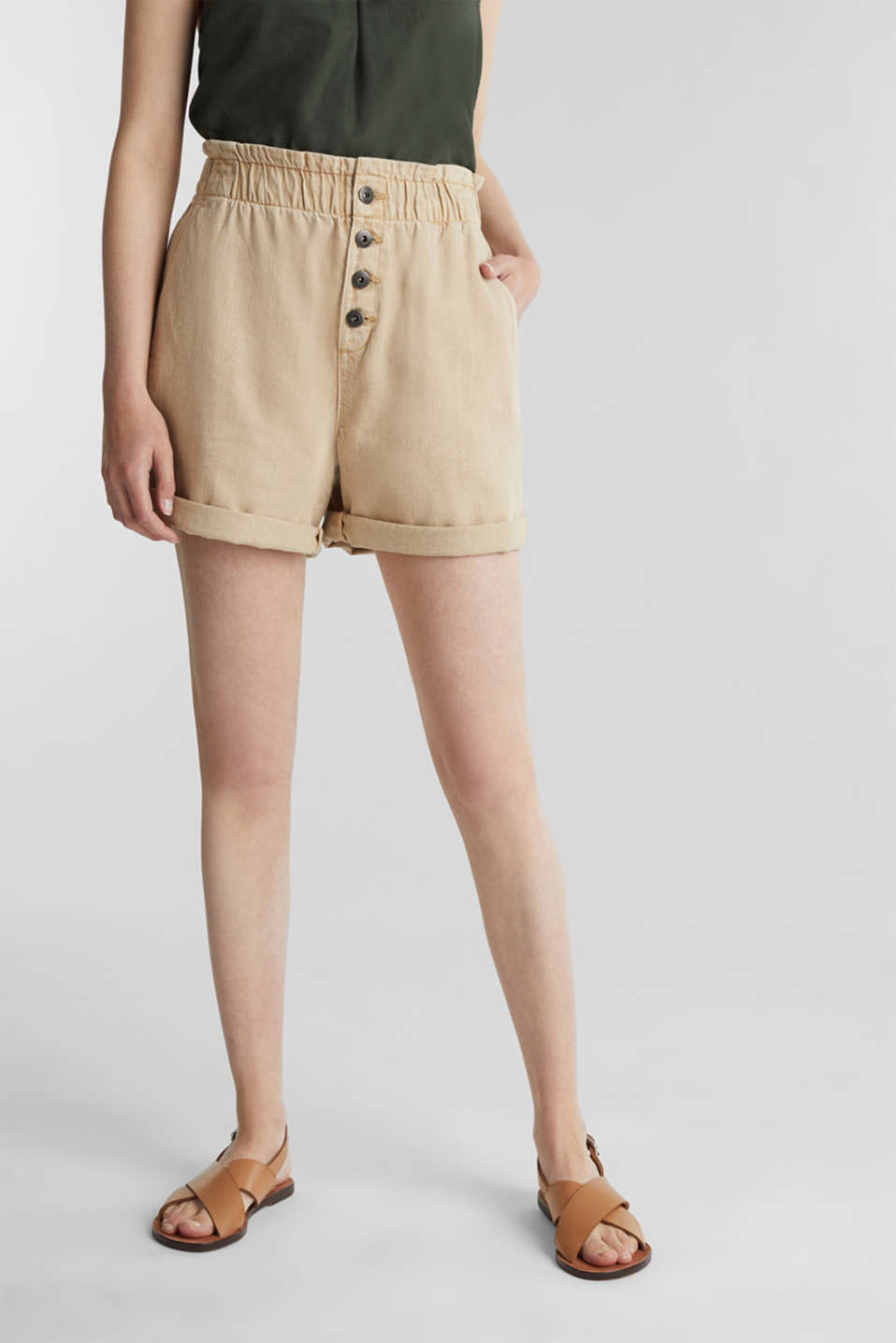 edc - Woven shorts with linen and organic cotton