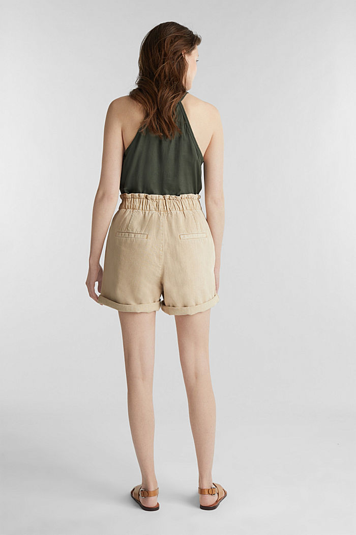Woven shorts with linen and organic cotton, BEIGE, detail image number 3