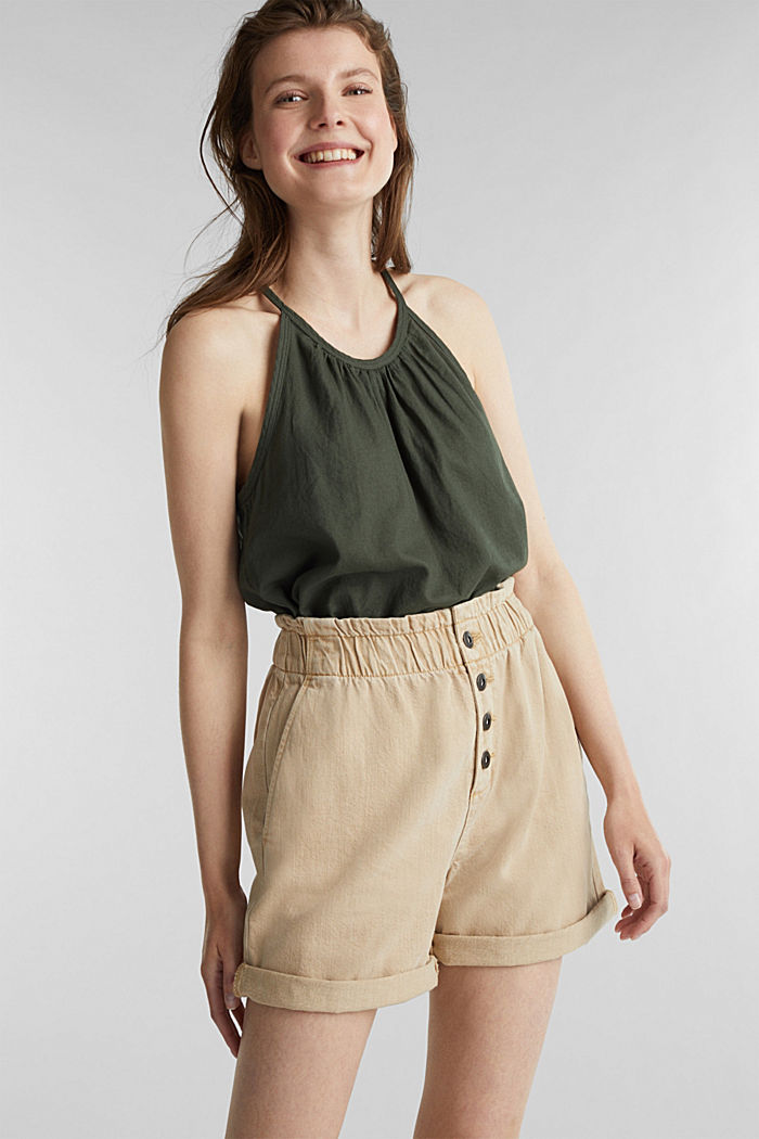 Woven shorts with linen and organic cotton, BEIGE, detail image number 5