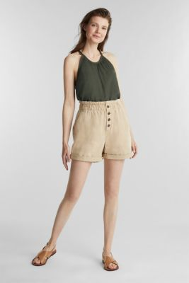 Woven shorts with linen and organic cotton, BEIGE, detail