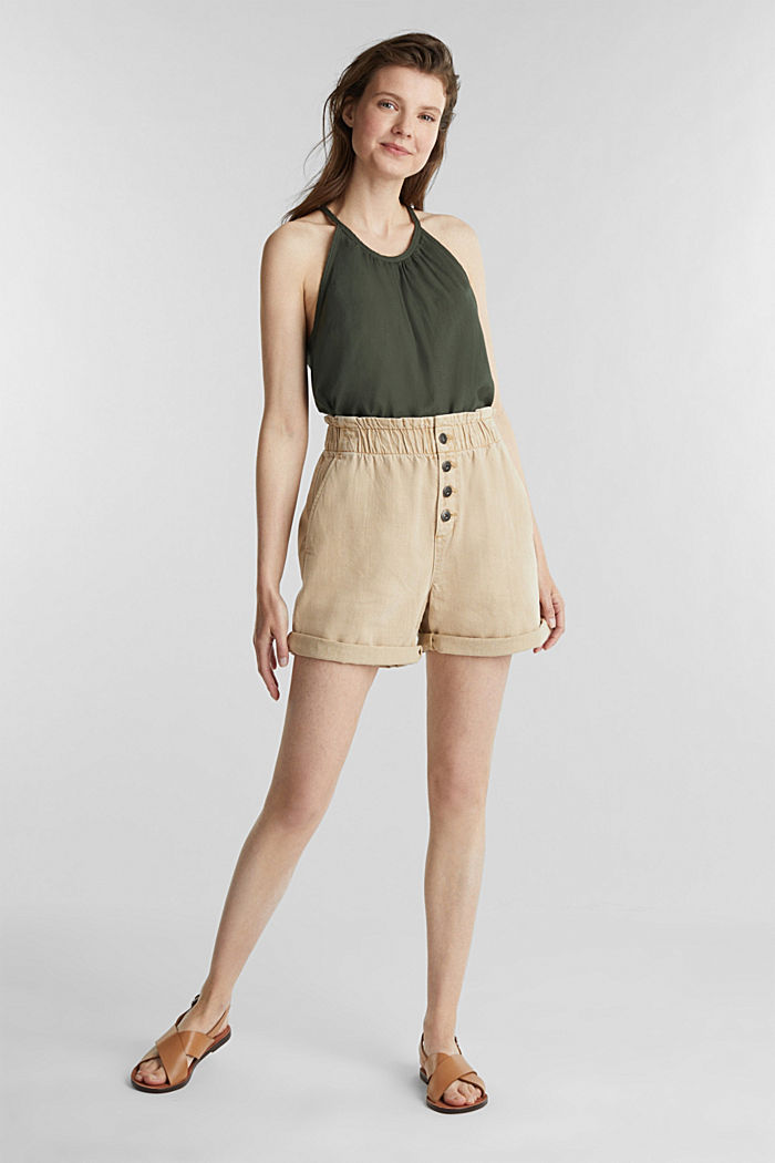 Woven shorts with linen and organic cotton, BEIGE, detail image number 1