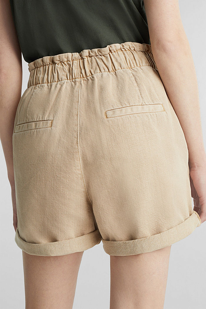 Woven shorts with linen and organic cotton, BEIGE, detail image number 2