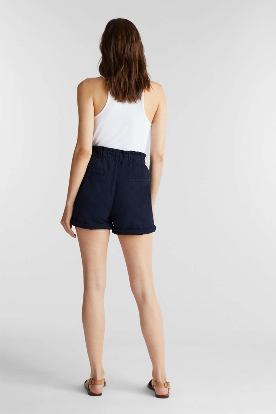 Woven shorts with linen and organic cotton, NAVY, detail image number 3