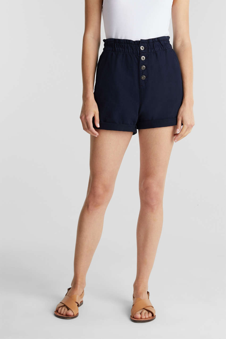 Woven shorts with linen and organic cotton, NAVY, detail image number 6