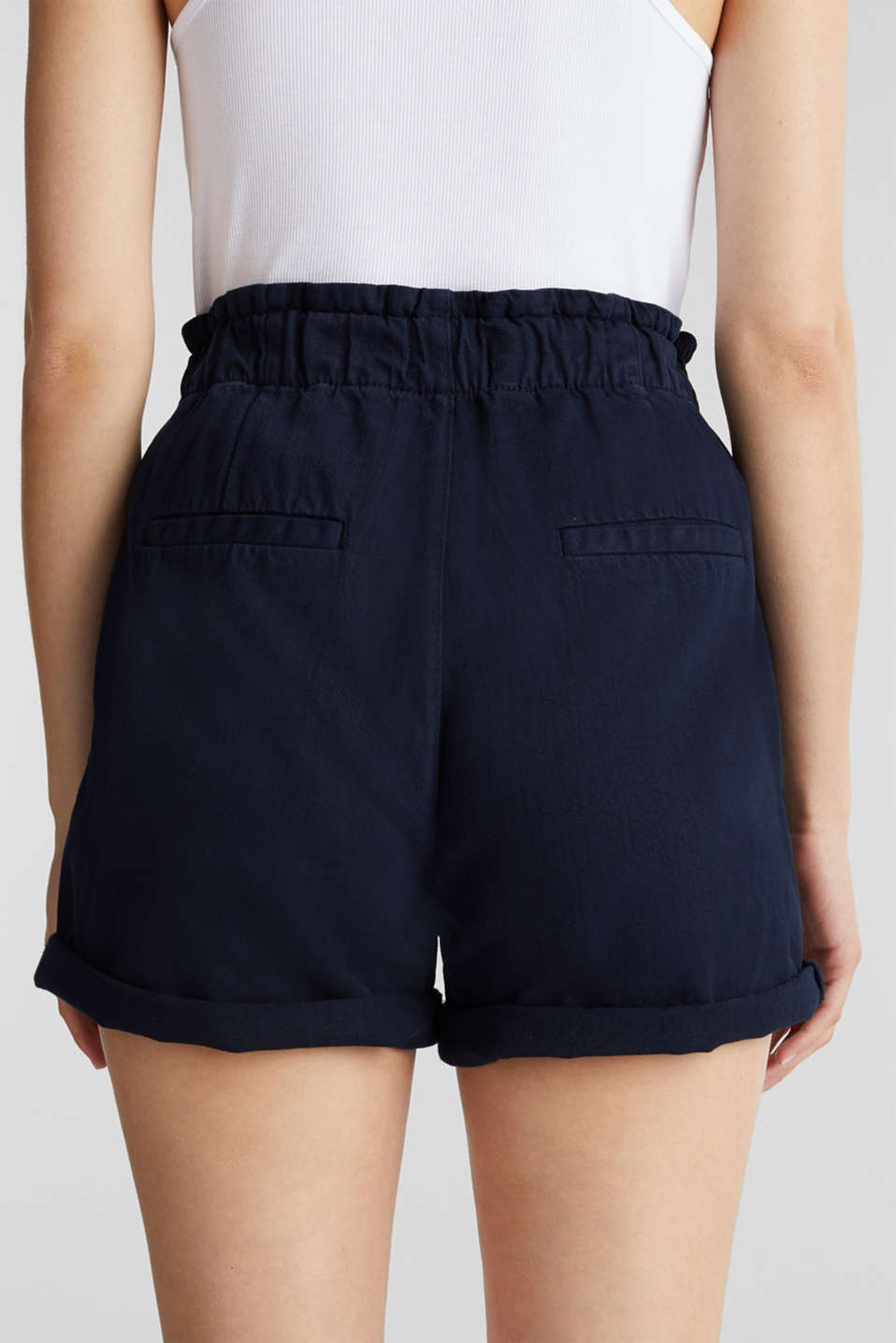 Woven shorts with linen and organic cotton, NAVY, detail image number 5