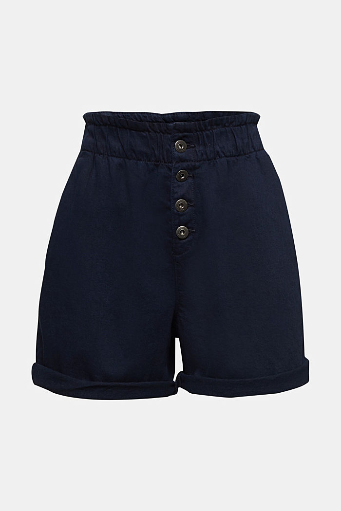 Woven shorts with linen and organic cotton, NAVY, detail image number 7