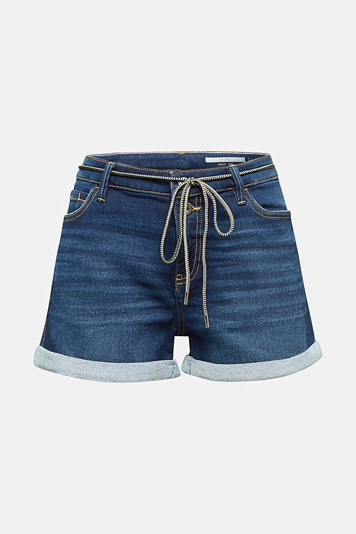 Stretch denim shorts, BLUE DARK WASHED, detail image number 5