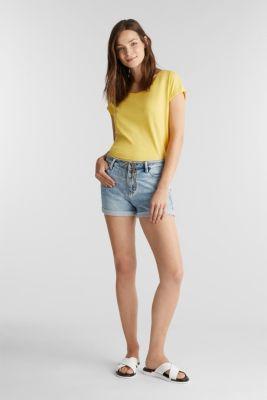 Stretch denim shorts, BLUE LIGHT WASH, detail