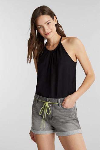 Denim shorts in tracksuit material