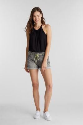 Denim shorts in tracksuit material, BLACK LIGHT WASH, detail