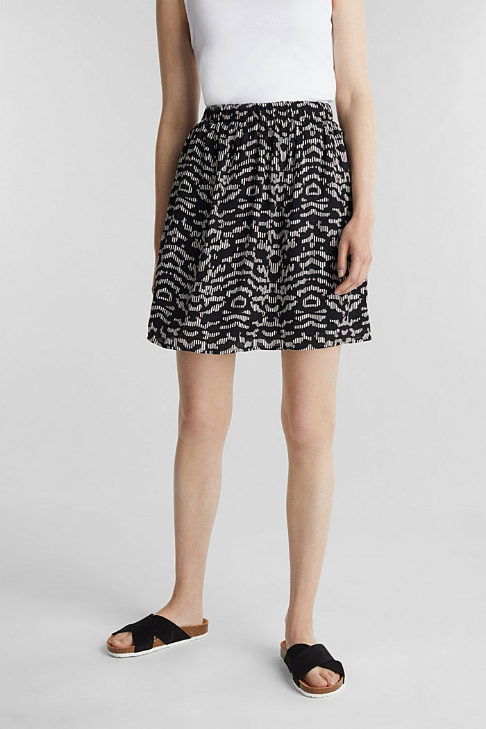Patterned skirt with elasticated waistband, BLACK, detail image number 0