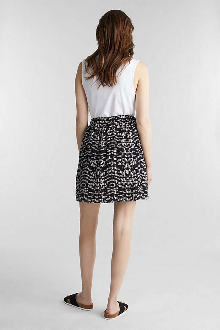 Patterned skirt with elasticated waistband, BLACK, detail image number 3