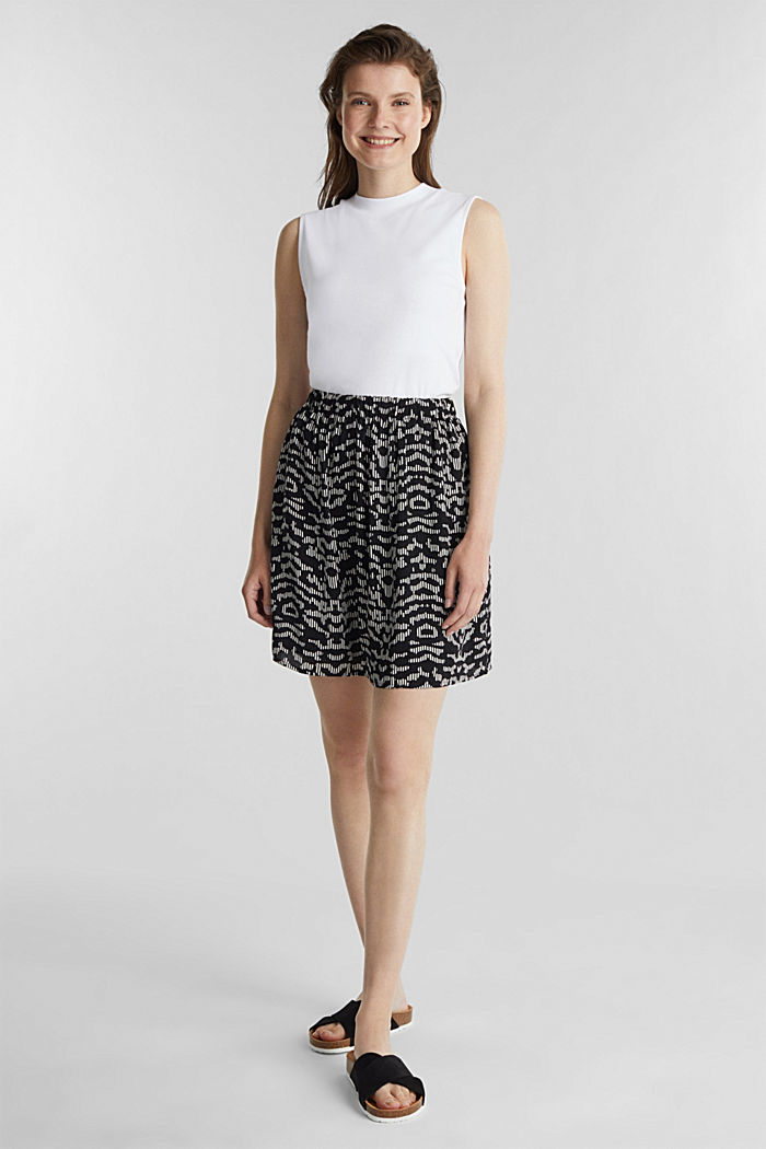 Patterned skirt with elasticated waistband, BLACK, detail image number 1