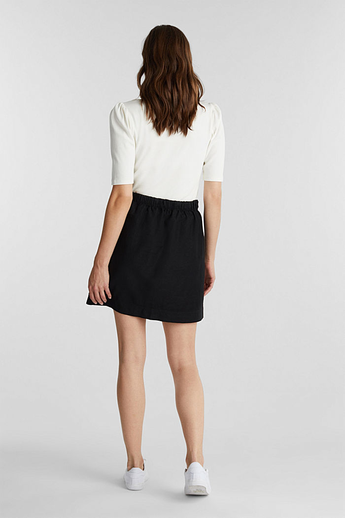 With linen: Skirt in a cotton blend, BLACK, detail image number 3