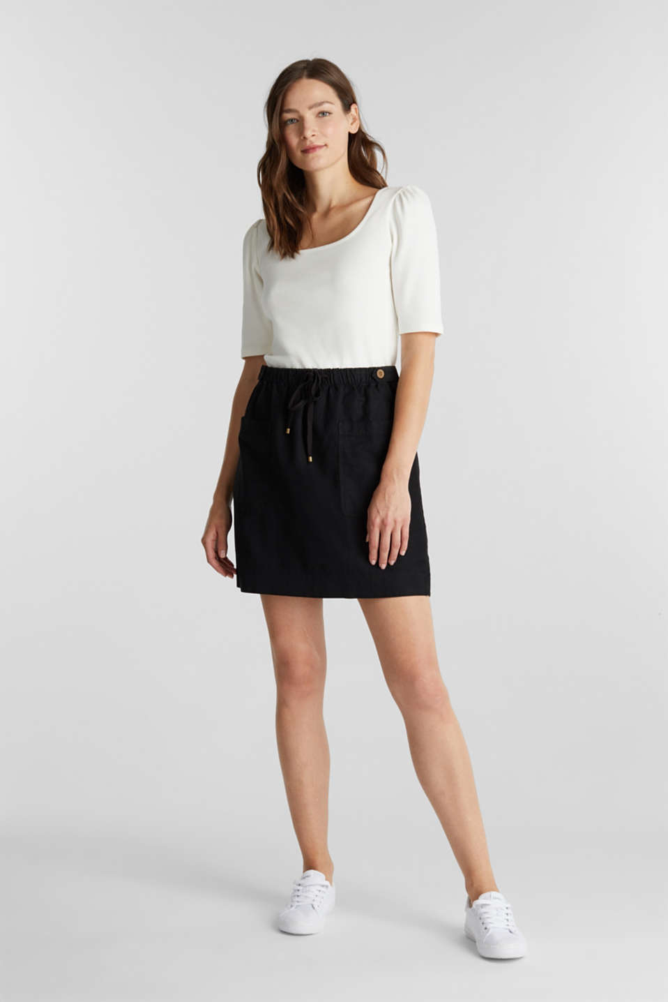 With linen: Skirt in a cotton blend, BLACK, detail image number 1