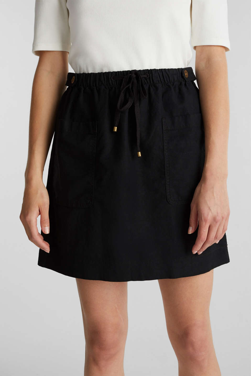 With linen: Skirt in a cotton blend, BLACK, detail image number 2