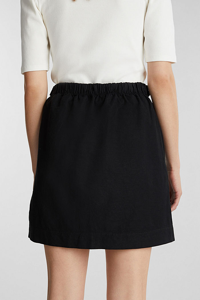 With linen: Skirt in a cotton blend, BLACK, detail image number 5