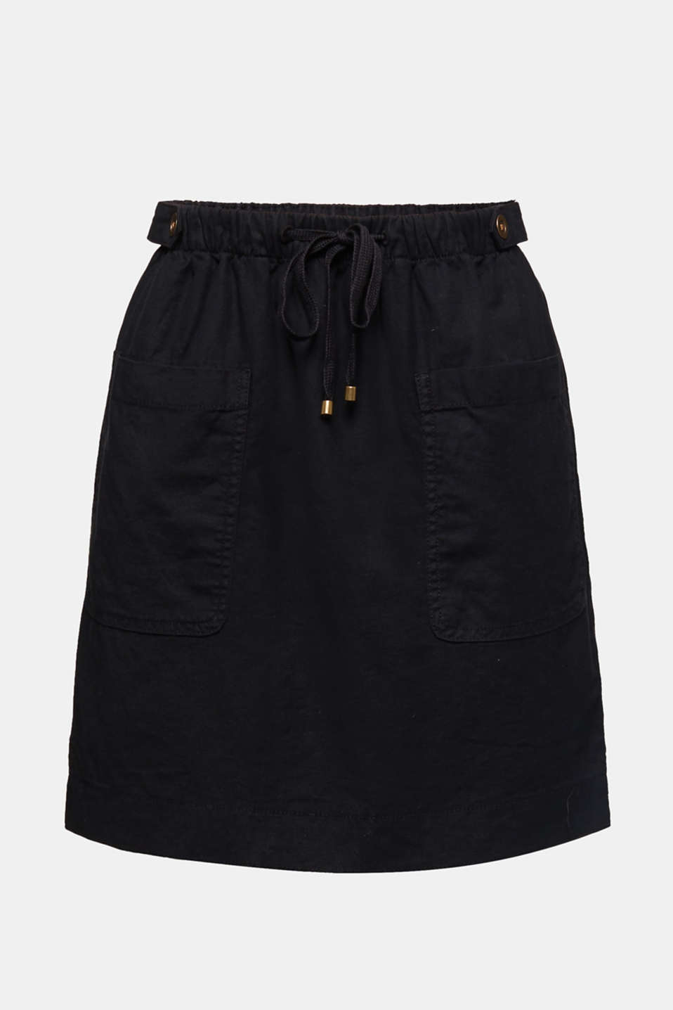With linen: Skirt in a cotton blend, BLACK, detail image number 6