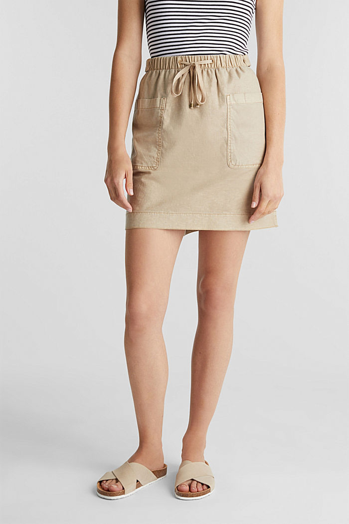 With linen: Skirt in a cotton blend, SAND, detail image number 0