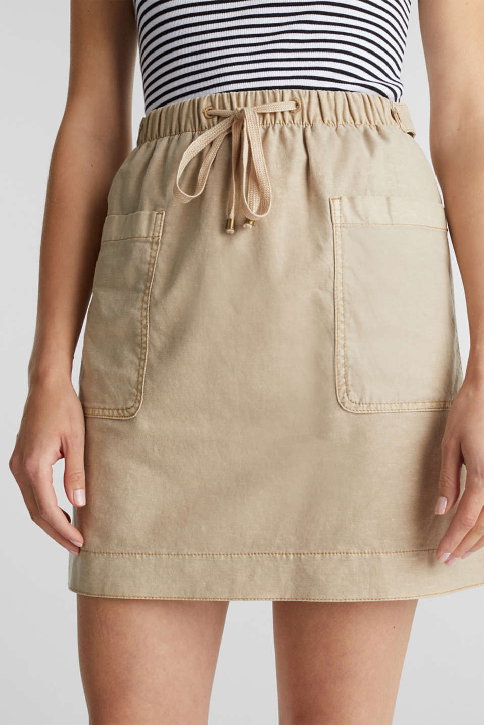 With linen: Skirt in a cotton blend, SAND, detail image number 2