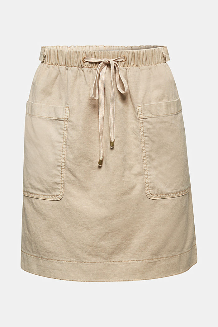 With linen: Skirt in a cotton blend, SAND, detail image number 5