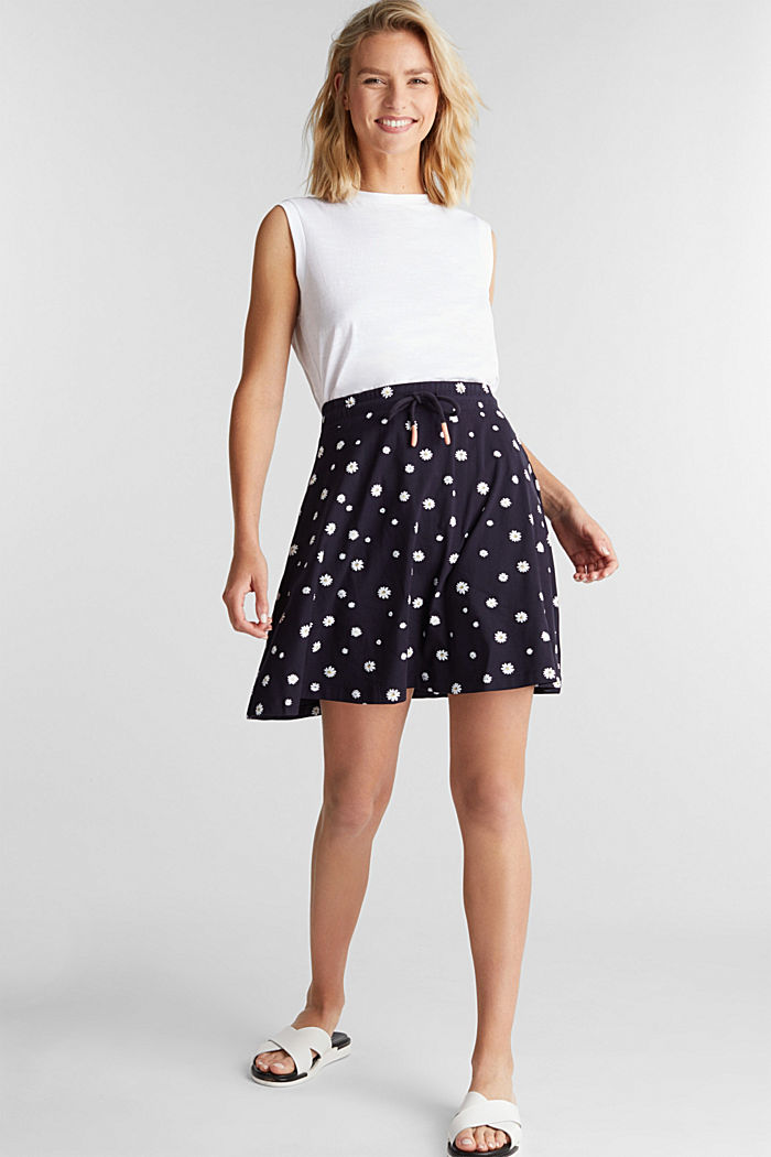 Jersey skirt with a floral print, NAVY, detail image number 1