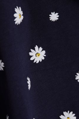 Jersey skirt with a floral print, NAVY, detail