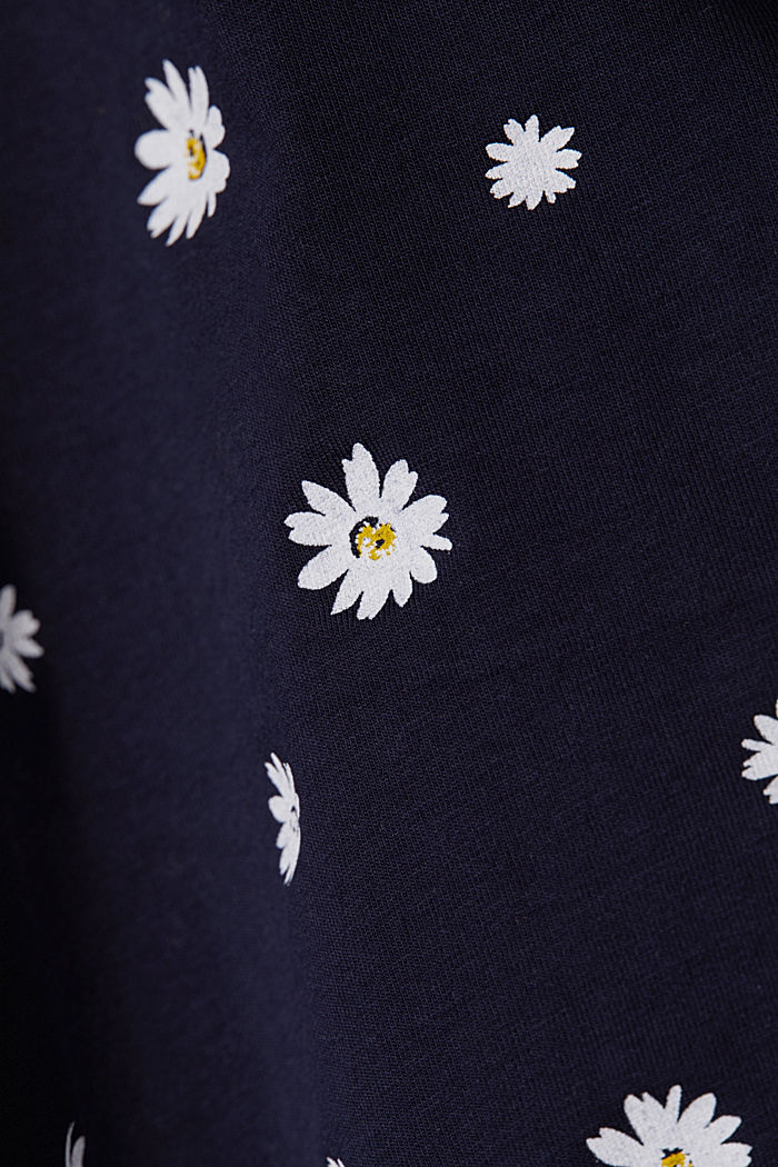 Gonna in jersey con stampa floreale, NAVY, detail image number 3