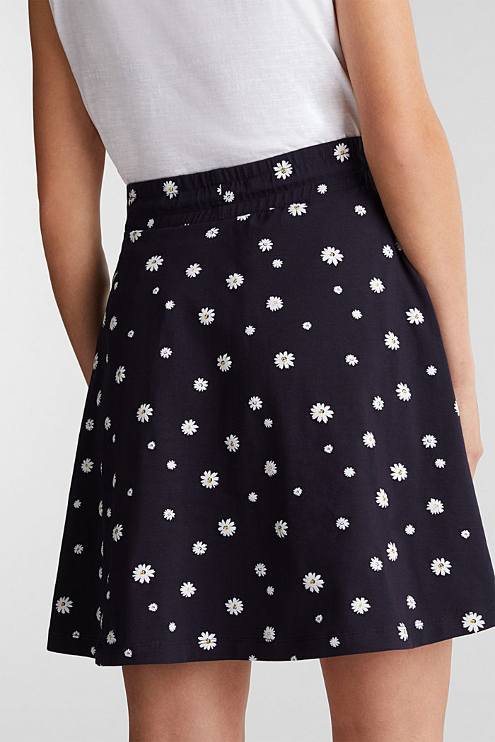 Gonna in jersey con stampa floreale, NAVY, detail image number 4
