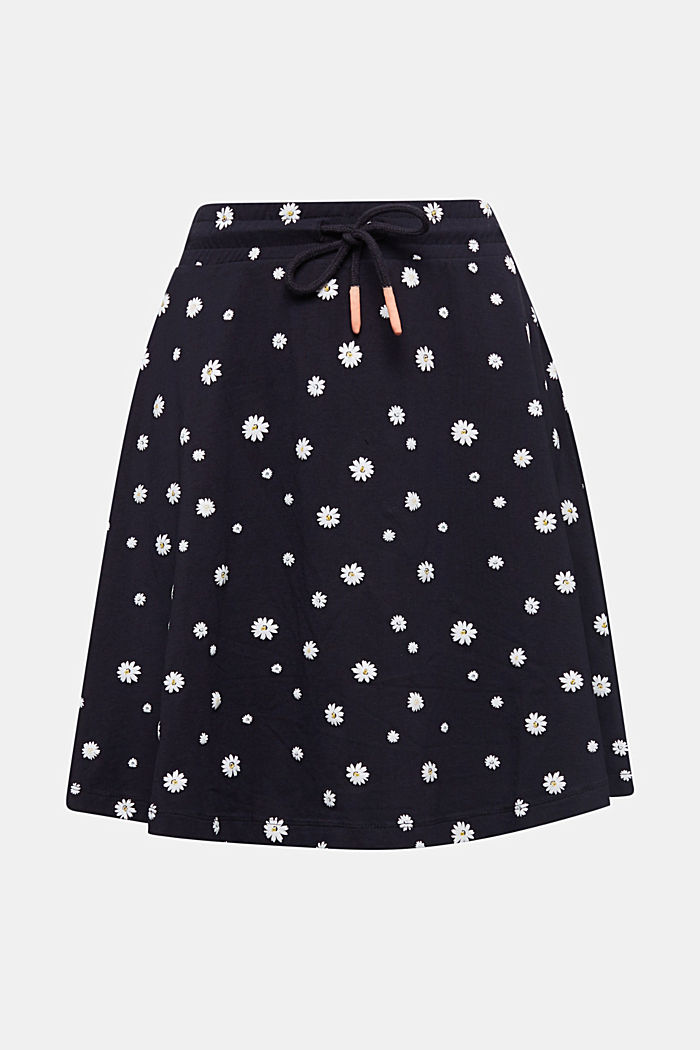 Jersey skirt with a floral print, NAVY, detail image number 5