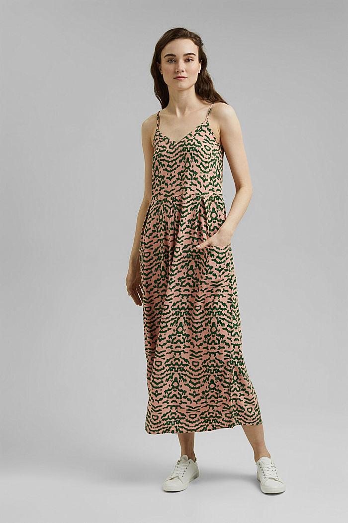 Midi-jurk met print, LENZING™ ECOVERO™, SALMON, detail image number 0
