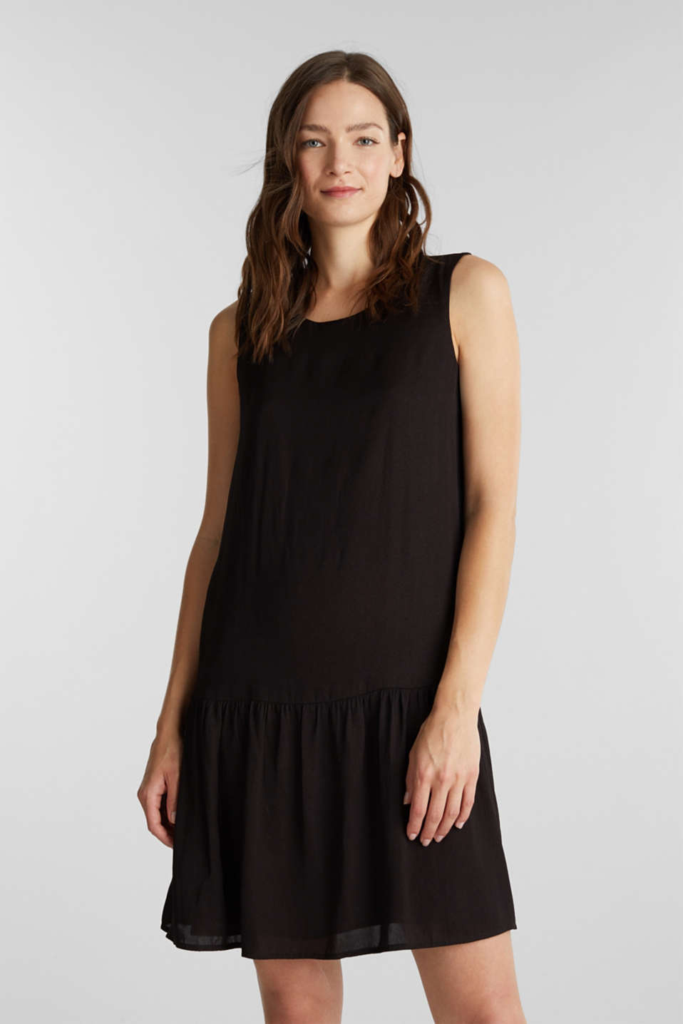 Woven dress with a flounce hem, BLACK, detail image number 0