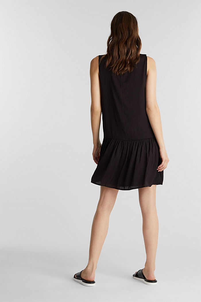 Woven dress with a flounce hem, BLACK, detail image number 2