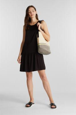 Woven dress with a flounce hem, BLACK, detail