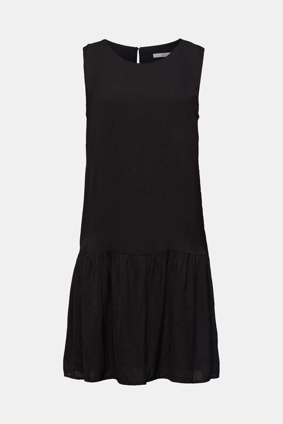 Woven dress with a flounce hem, BLACK, detail image number 6