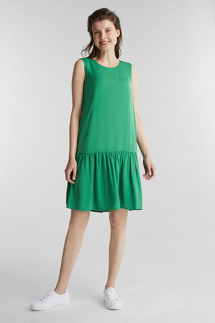Geweven jurk met volant aan de zoom, GREEN, detail image number 1