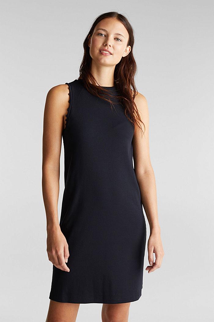Kleid aus Ripp-Jersey, BLACK, detail image number 0